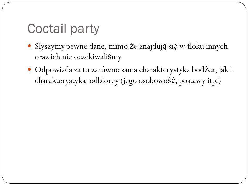 Coctail party Słyszymy pewne dane, mimo ż e znajduj ą si ę w tłoku innych oraz ich nie oczekiwali ś my Odpowiada za to zarówno sama charakterystyka bo
