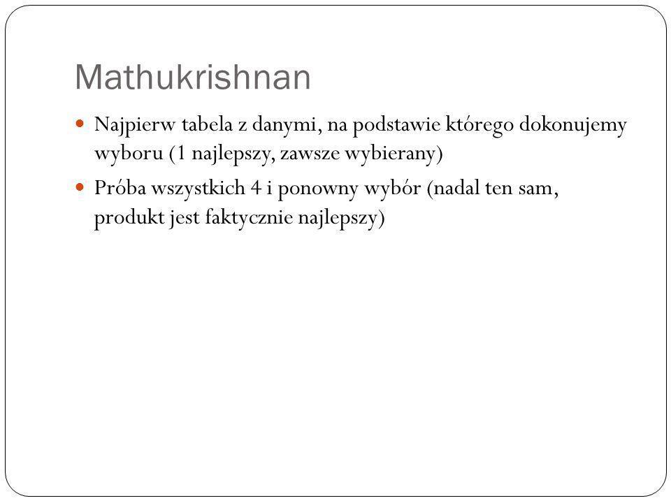 Mathukrishnan Najpierw tabela z danymi, na podstawie którego dokonujemy wyboru (1 najlepszy, zawsze wybierany) Próba wszystkich 4 i ponowny wybór (nadal ten sam, produkt jest faktycznie najlepszy)