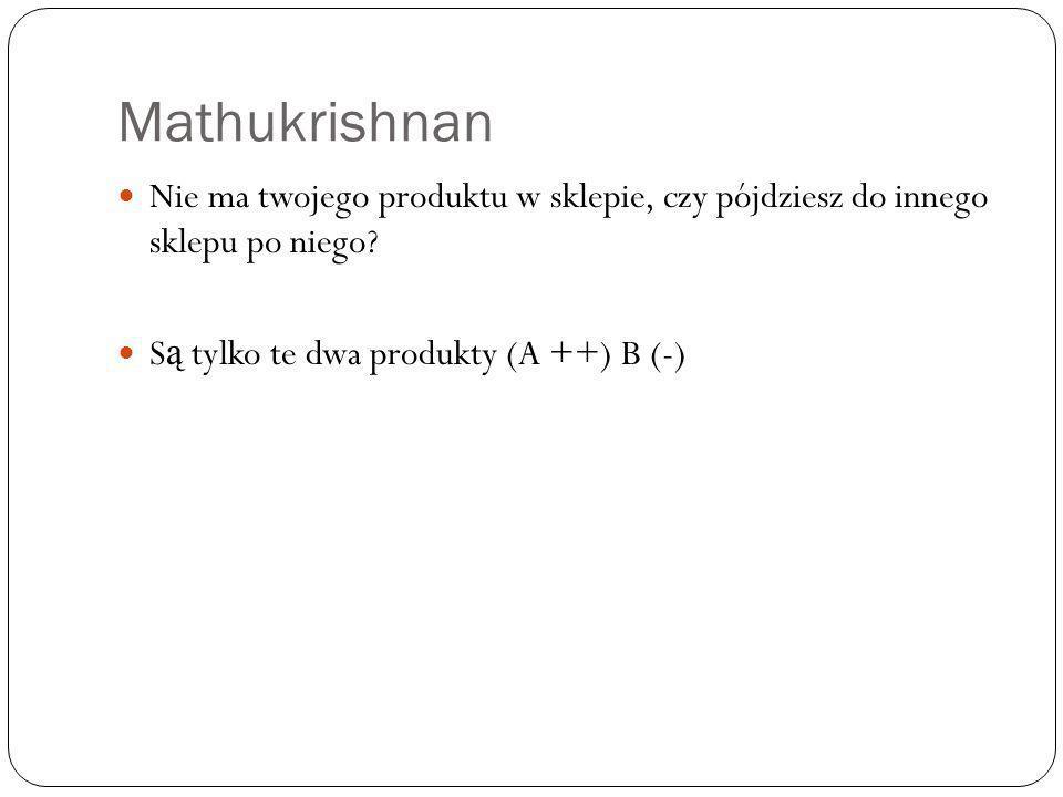 Mathukrishnan Nie ma twojego produktu w sklepie, czy pójdziesz do innego sklepu po niego? S ą tylko te dwa produkty (A ++) B (-)
