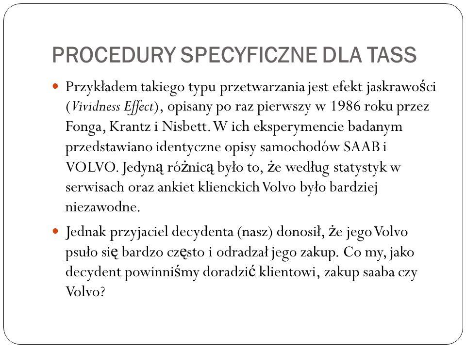 PROCEDURY SPECYFICZNE DLA TASS Przykładem takiego typu przetwarzania jest efekt jaskrawo ś ci (Vividness Effect), opisany po raz pierwszy w 1986 roku przez Fonga, Krantz i Nisbett.