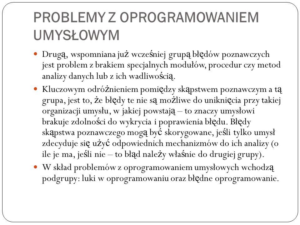 PROBLEMY Z OPROGRAMOWANIEM UMYSŁOWYM Drug ą, wspomniana ju ż wcze ś niej grup ą bł ę dów poznawczych jest problem z brakiem specjalnych modułów, proce