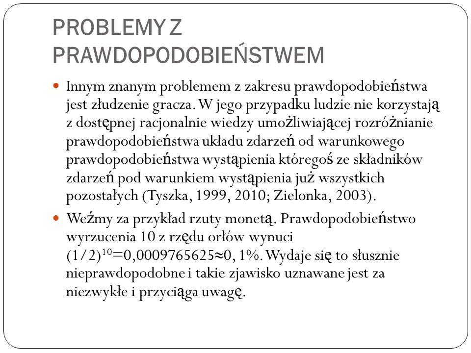 PROBLEMY Z PRAWDOPODOBIEŃSTWEM Innym znanym problemem z zakresu prawdopodobie ń stwa jest złudzenie gracza. W jego przypadku ludzie nie korzystaj ą z