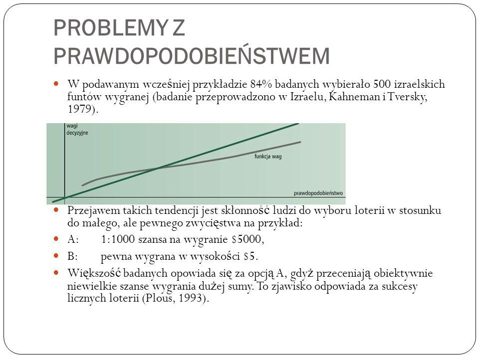PROBLEMY Z PRAWDOPODOBIEŃSTWEM W podawanym wcze ś niej przykładzie 84% badanych wybierało 500 izraelskich funtów wygranej (badanie przeprowadzono w Izraelu, Kahneman i Tversky, 1979).