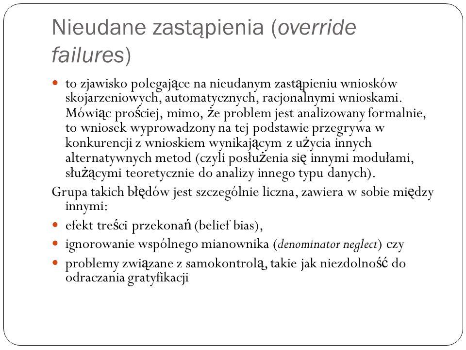 Nieudane zastąpienia (override failures) to zjawisko polegaj ą ce na nieudanym zast ą pieniu wniosków skojarzeniowych, automatycznych, racjonalnymi wn