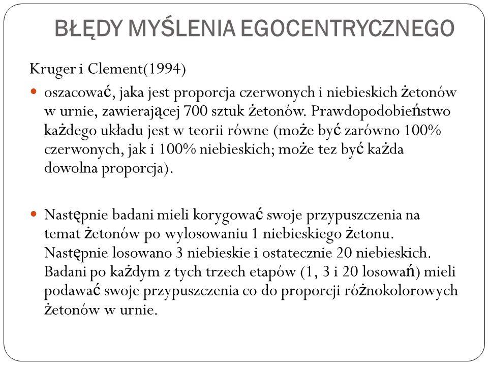 BŁĘDY MYŚLENIA EGOCENTRYCZNEGO Kruger i Clement(1994) oszacowa ć, jaka jest proporcja czerwonych i niebieskich ż etonów w urnie, zawieraj ą cej 700 sztuk ż etonów.