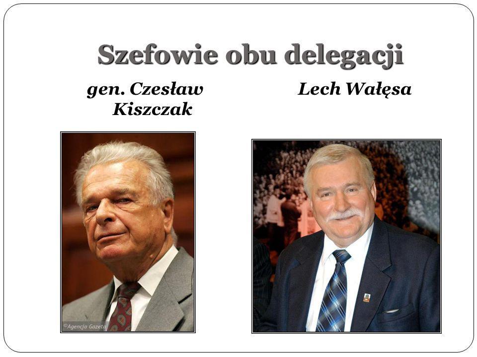 Szefowie obu delegacji gen. Czesław Kiszczak Lech Wałęsa