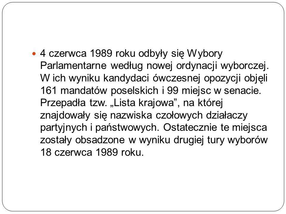 4 czerwca 1989 roku odbyły się Wybory Parlamentarne według nowej ordynacji wyborczej. W ich wyniku kandydaci ówczesnej opozycji objęli 161 mandatów po