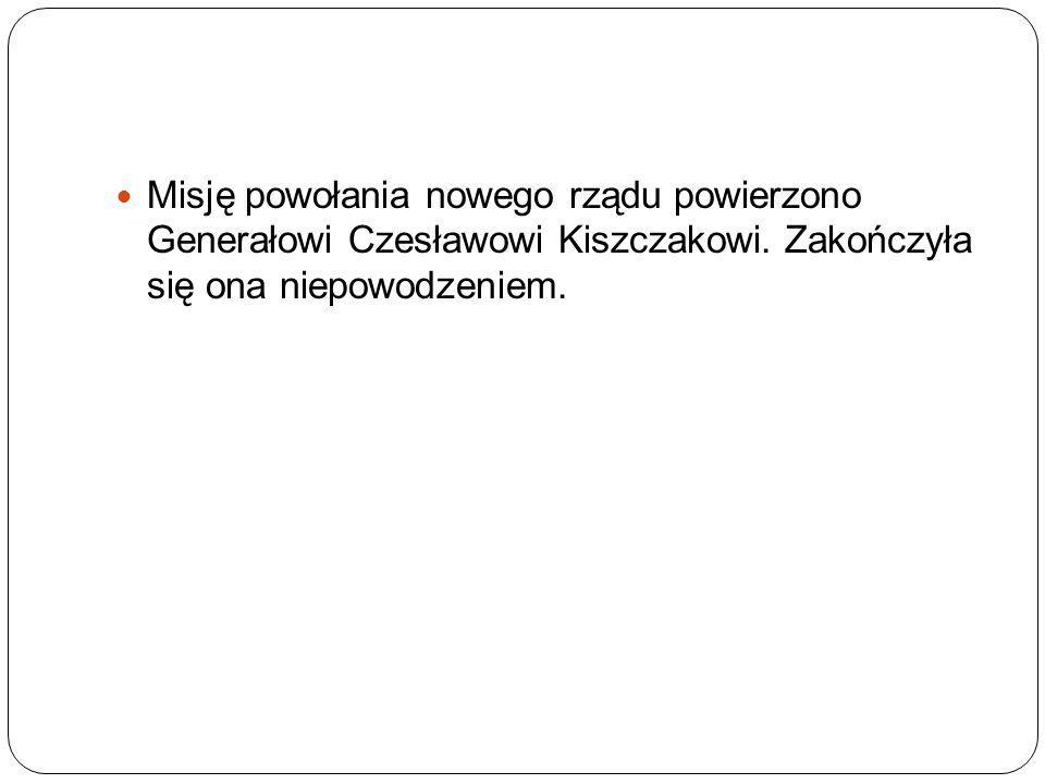 Misję powołania nowego rządu powierzono Generałowi Czesławowi Kiszczakowi. Zakończyła się ona niepowodzeniem.