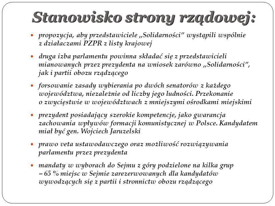 """Stanowisko strony rządowej: propozycja, aby przedstawiciele,,Solidarności"""" wystąpili wspólnie z działaczami PZPR z listy krajowej druga izba parlament"""