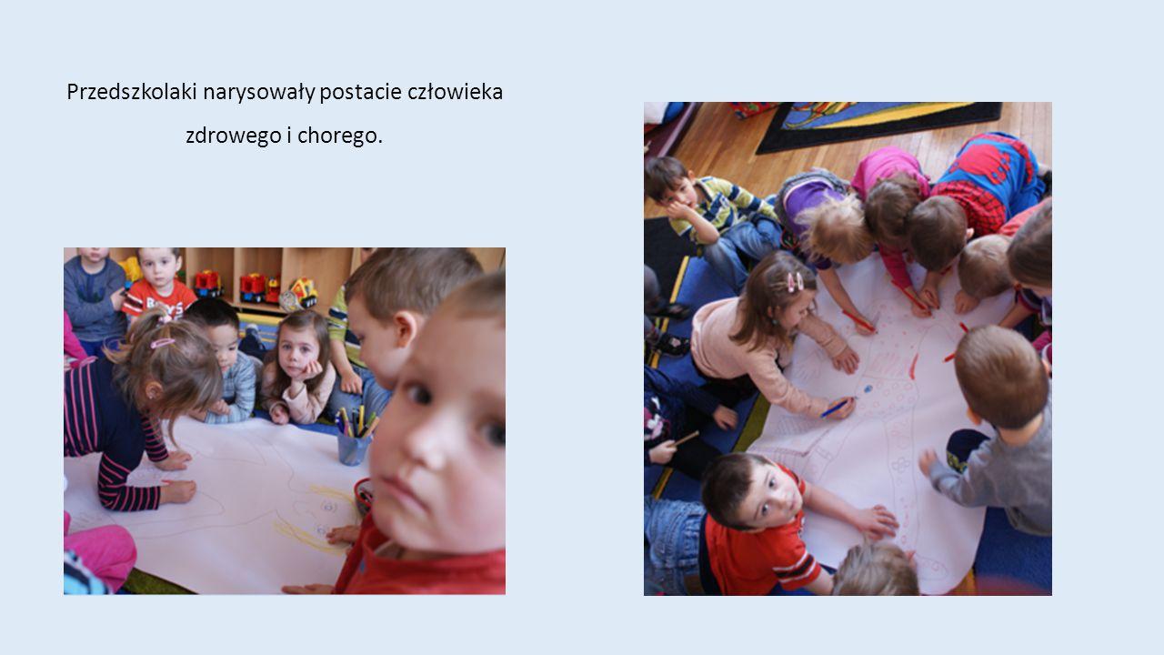 Przedszkolaki narysowały postacie człowieka zdrowego i chorego.