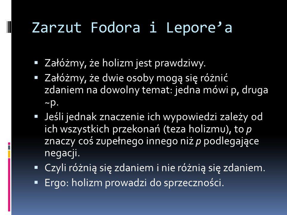 Zarzut Fodora i Lepore'a  Załóżmy, że holizm jest prawdziwy.