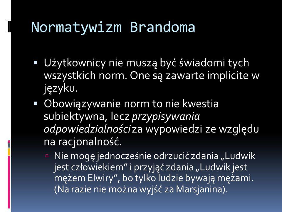 Normatywizm Brandoma  Użytkownicy nie muszą być świadomi tych wszystkich norm.