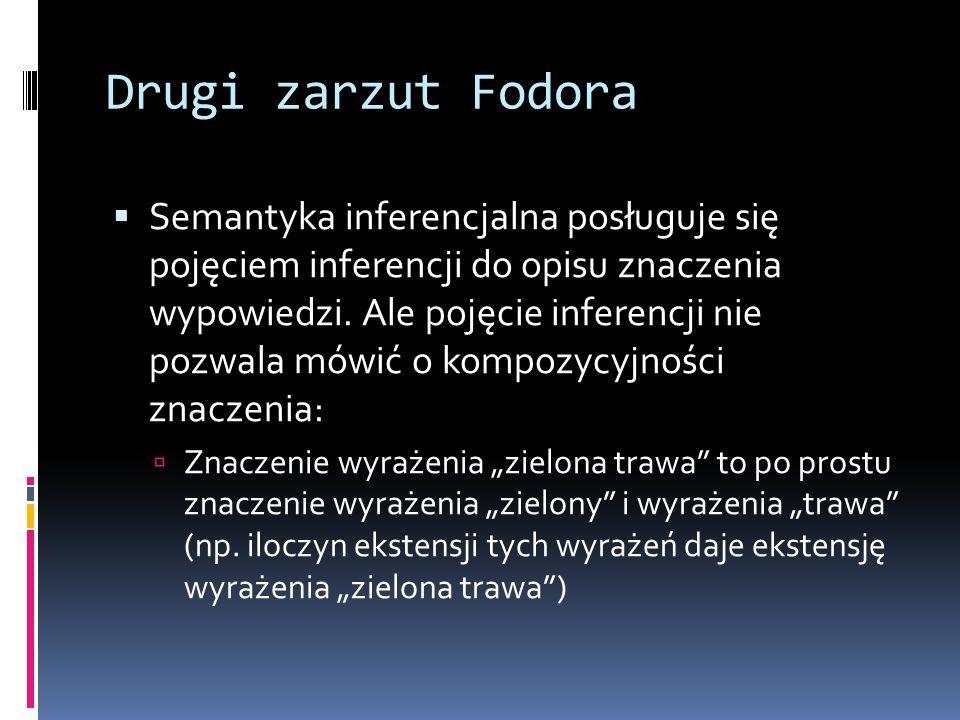 Drugi zarzut Fodora  Semantyka inferencjalna posługuje się pojęciem inferencji do opisu znaczenia wypowiedzi.