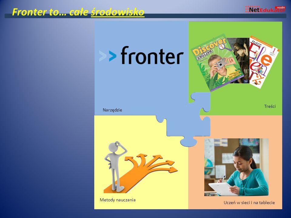 Środowisko wirtualnej szkoły Podręczniki Samodzielna praca ucznia Projekt i odwrócona klasa Treści Metody nauczania Uczeń w sieci i na tablecie Fronte