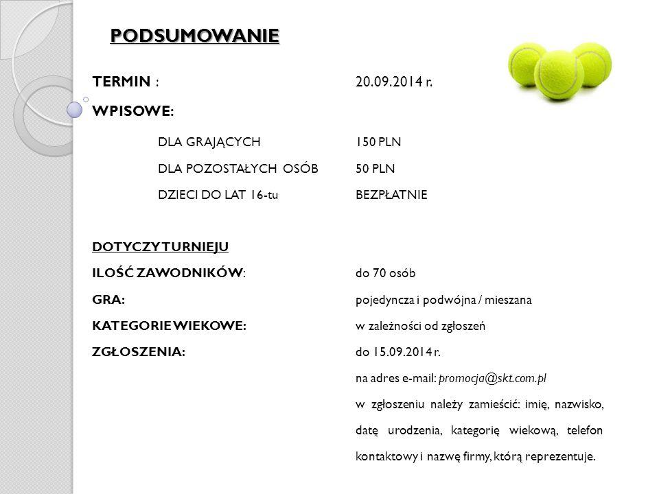 PODSUMOWANIE TERMIN : 20.09.2014 r.