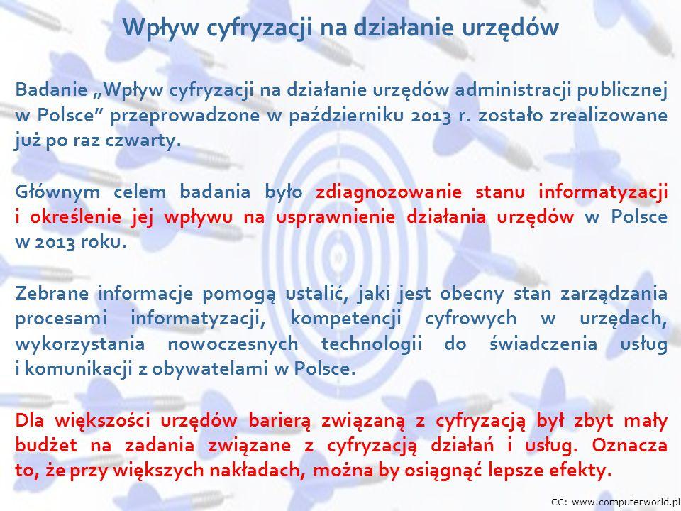 """Wydarzenie, data, miejsce 10 Badanie """"Wpływ cyfryzacji na działanie urzędów administracji publicznej w Polsce"""" przeprowadzone w październiku 2013 r. z"""