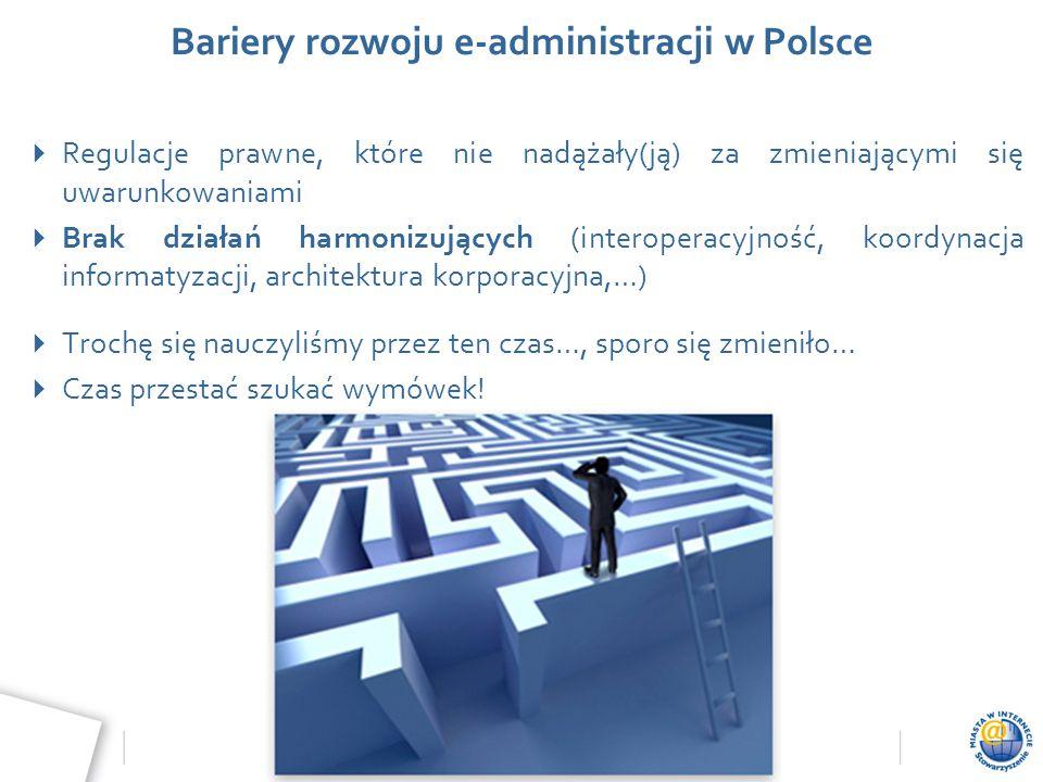 Wydarzenie, data, miejsce Bariery rozwoju e-administracji w Polsce  Regulacje prawne, które nie nadążały(ją) za zmieniającymi się uwarunkowaniami  B