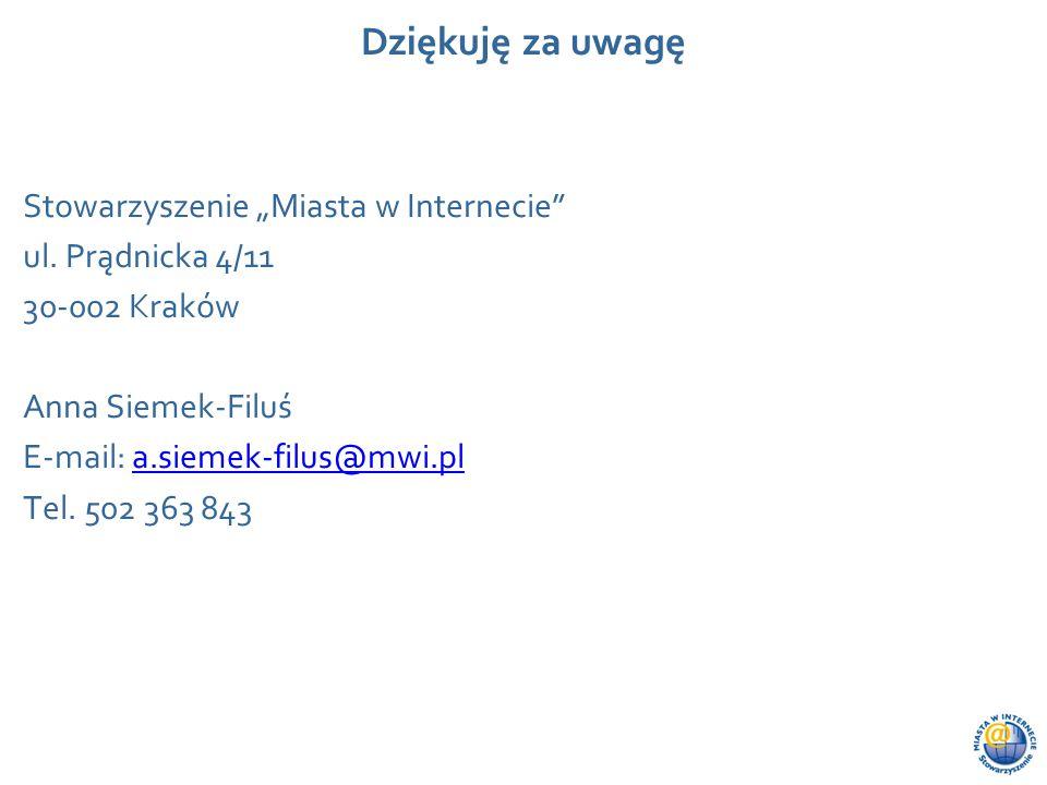 """Wydarzenie, data, miejsce Dziękuję za uwagę Stowarzyszenie """"Miasta w Internecie"""" ul. Prądnicka 4/11 30-002 Kraków Anna Siemek-Filuś E-mail: a.siemek-f"""
