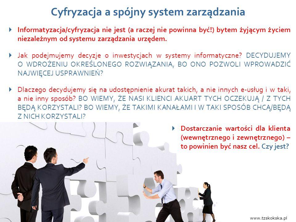 Wydarzenie, data, miejsce 4  Informatyzacja/cyfryzacja nie jest (a raczej nie powinna być!) bytem żyjącym życiem niezależnym od systemu zarządzania u