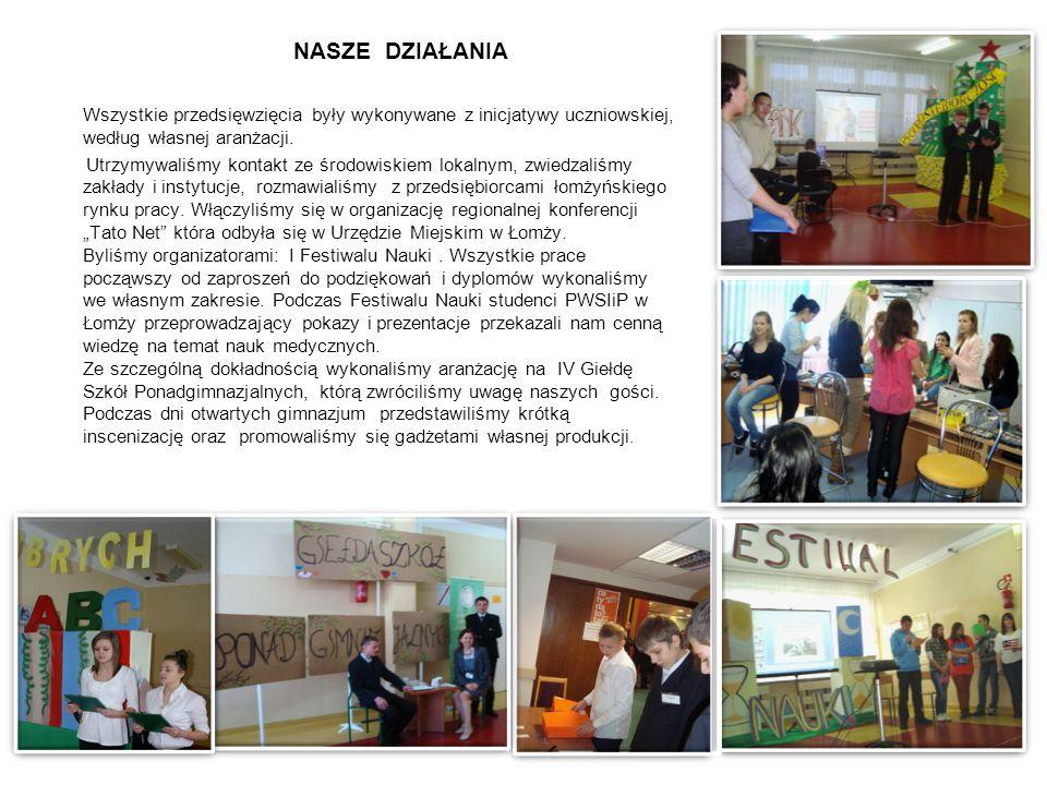 NASZE DZIAŁANIA Wszystkie przedsięwzięcia były wykonywane z inicjatywy uczniowskiej, według własnej aranżacji.