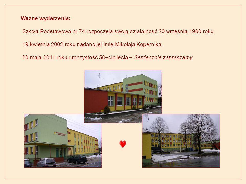 Ważne wydarzenia: Szkoła Podstawowa nr 74 rozpoczęła swoją działalność 20 września 1960 roku.