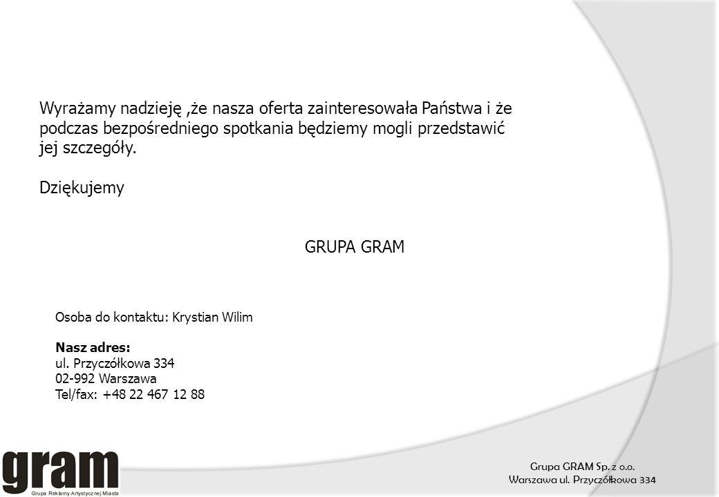 Grupa GRAM Sp. z o.o. Warszawa ul. Przyczółkowa 334 Wyrażamy nadzieję,że nasza oferta zainteresowała Państwa i że podczas bezpośredniego spotkania będ