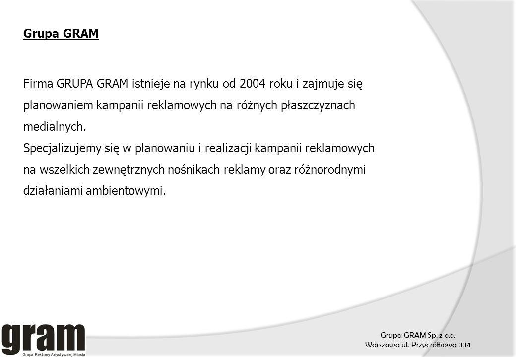 Grupa GRAM Sp. z o.o. Warszawa ul. Przyczółkowa 334 Grupa GRAM Firma GRUPA GRAM istnieje na rynku od 2004 roku i zajmuje się planowaniem kampanii rekl