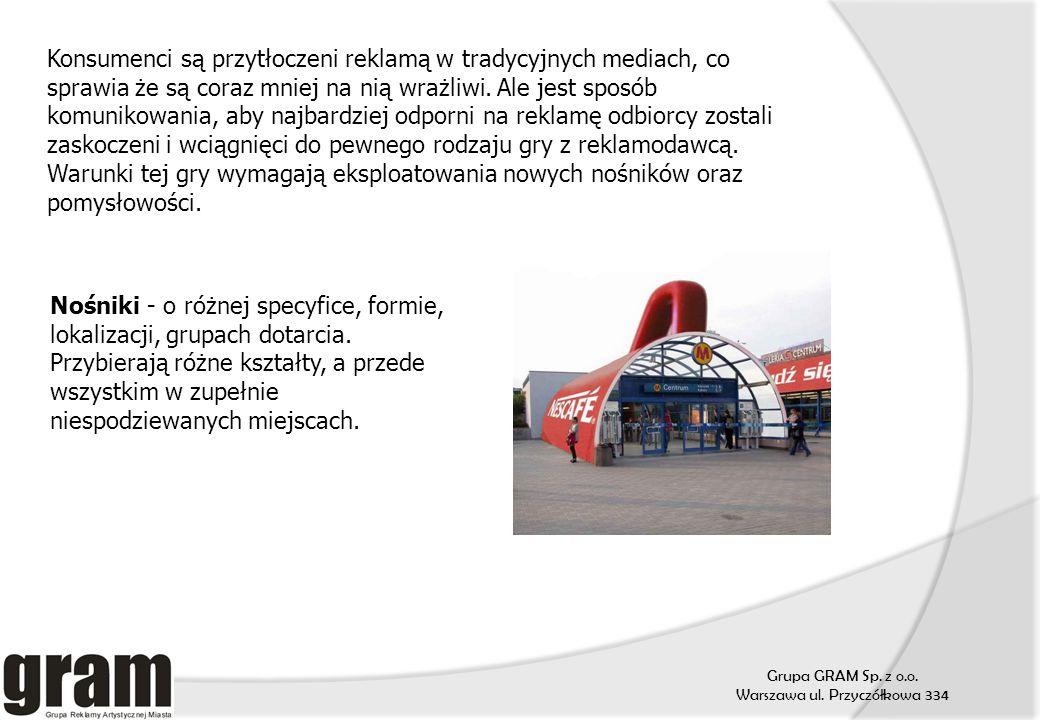 Grupa GRAM Sp. z o.o. Warszawa ul. Przyczółkowa 334 Konsumenci są przytłoczeni reklamą w tradycyjnych mediach, co sprawia że są coraz mniej na nią wra