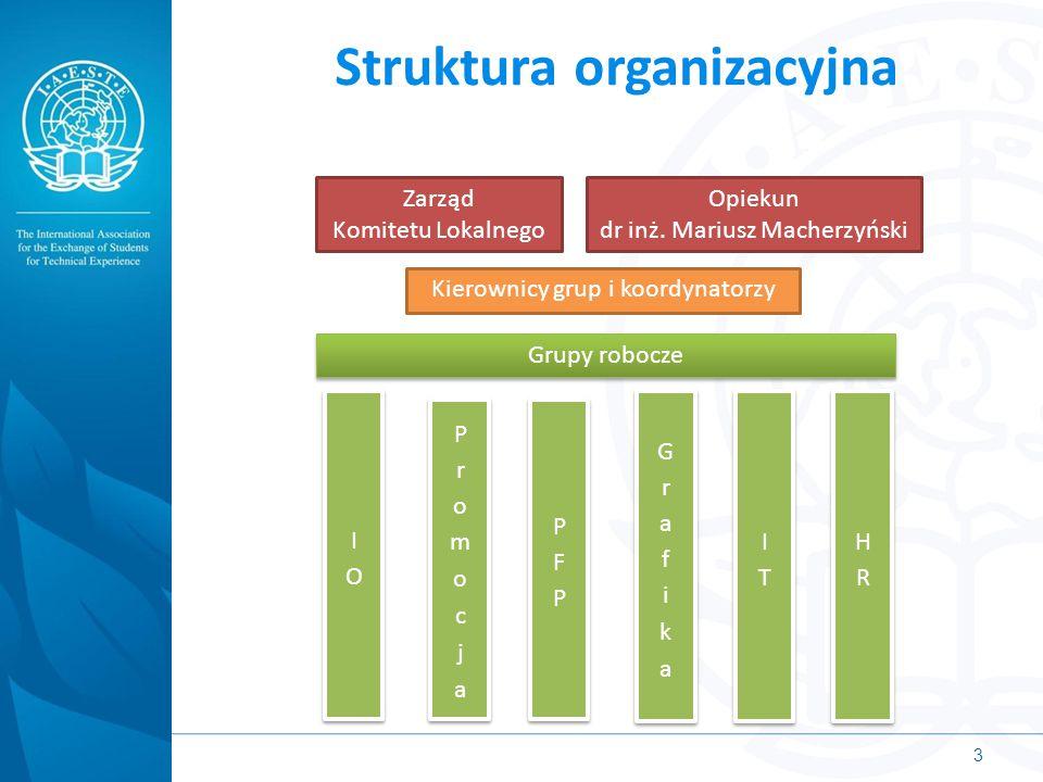 Struktura organizacyjna 3 Zarząd Komitetu Lokalnego Opiekun dr inż. Mariusz Macherzyński Kierownicy grup i koordynatorzy Grupy robocze