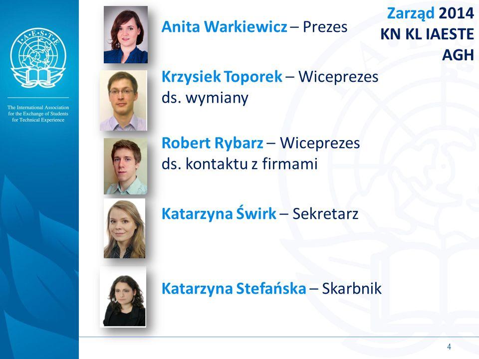 Anita Warkiewicz – Prezes Krzysiek Toporek – Wiceprezes ds. wymiany Robert Rybarz – Wiceprezes ds. kontaktu z firmami Katarzyna Świrk – Sekretarz Kata