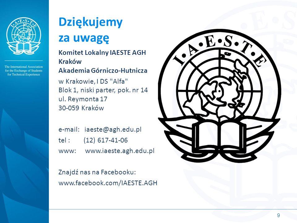 Dziękujemy za uwagę Komitet Lokalny IAESTE AGH Kraków Akademia Górniczo-Hutnicza w Krakowie, I DS Alfa Blok 1, niski parter, pok.