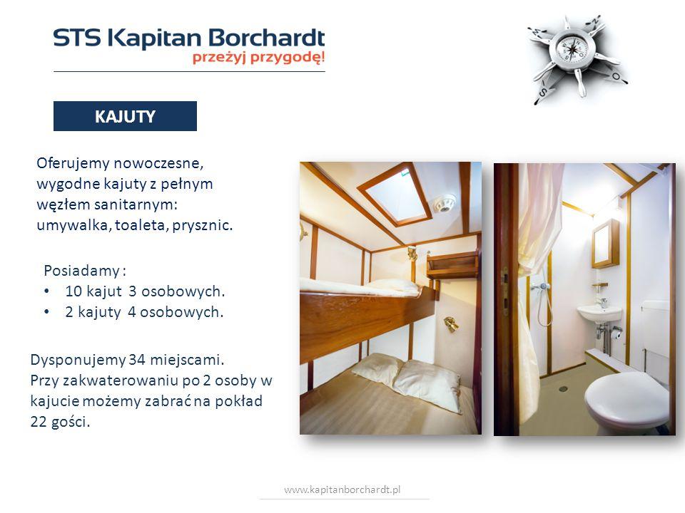 www.kapitanborchardt.pl Oferujemy nowoczesne, wygodne kajuty z pełnym węzłem sanitarnym: umywalka, toaleta, prysznic. Dysponujemy 34 miejscami. Przy z