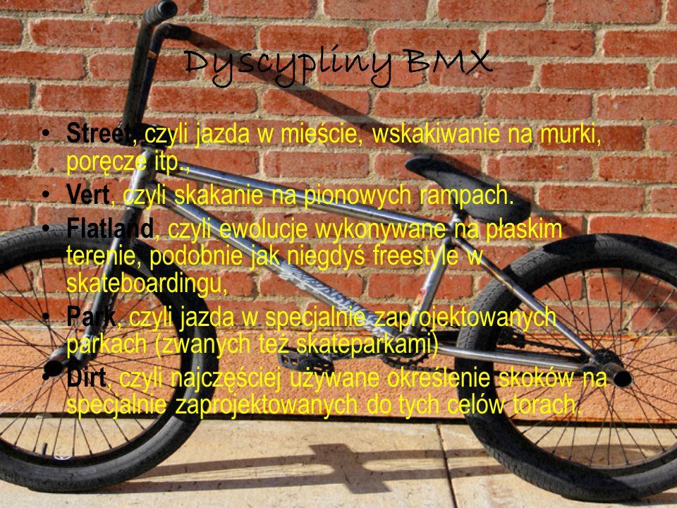 Dyscypliny BMX Street, czyli jazda w mieście, wskakiwanie na murki, poręcze itp., Vert, czyli skakanie na pionowych rampach. Flatland, czyli ewolucje