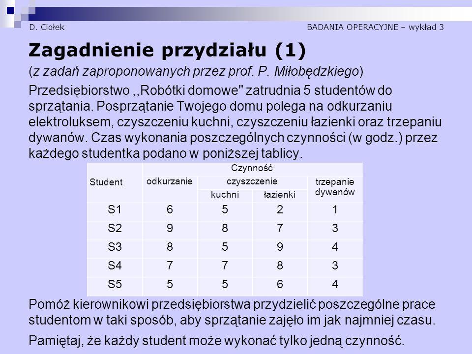 D. Ciołek BADANIA OPERACYJNE – wykład 3 Zagadnienie przydziału (1) (z zadań zaproponowanych przez prof. P. Miłobędzkiego) Przedsiębiorstwo,,Robótki do