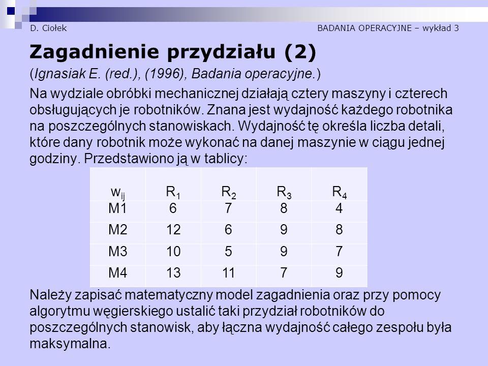 D.Ciołek BADANIA OPERACYJNE – wykład 3 Zagadnienie przydziału (2) (Ignasiak E.