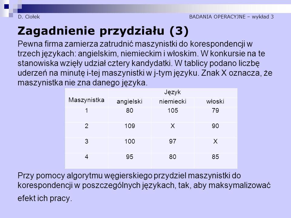 D. Ciołek BADANIA OPERACYJNE – wykład 3 Zagadnienie przydziału (3) Pewna firma zamierza zatrudnić maszynistki do korespondencji w trzech językach: ang
