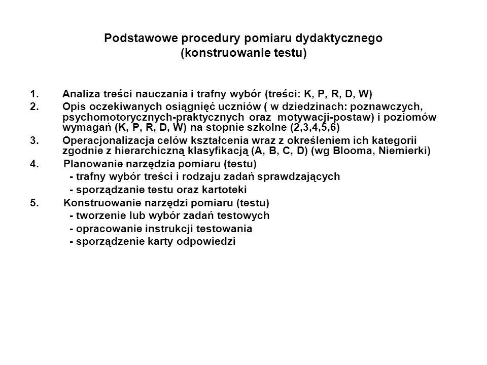 Podstawowe procedury pomiaru dydaktycznego (konstruowanie testu) 1.Analiza treści nauczania i trafny wybór (treści: K, P, R, D, W) 2.Opis oczekiwanych osiągnięć uczniów ( w dziedzinach: poznawczych, psychomotorycznych-praktycznych oraz motywacji-postaw) i poziomów wymagań (K, P, R, D, W) na stopnie szkolne (2,3,4,5,6) 3.Operacjonalizacja celów kształcenia wraz z określeniem ich kategorii zgodnie z hierarchiczną klasyfikacją (A, B, C, D) (wg Blooma, Niemierki) 4.