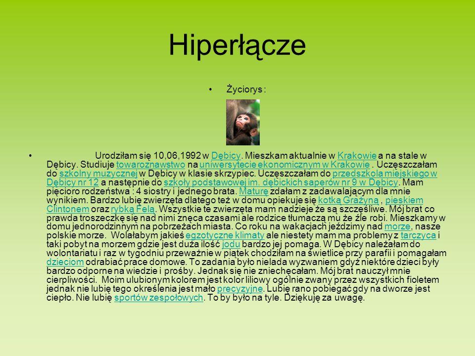 Hiperłącze Życiorys : Urodziłam się 10,06,1992 w Dębicy.