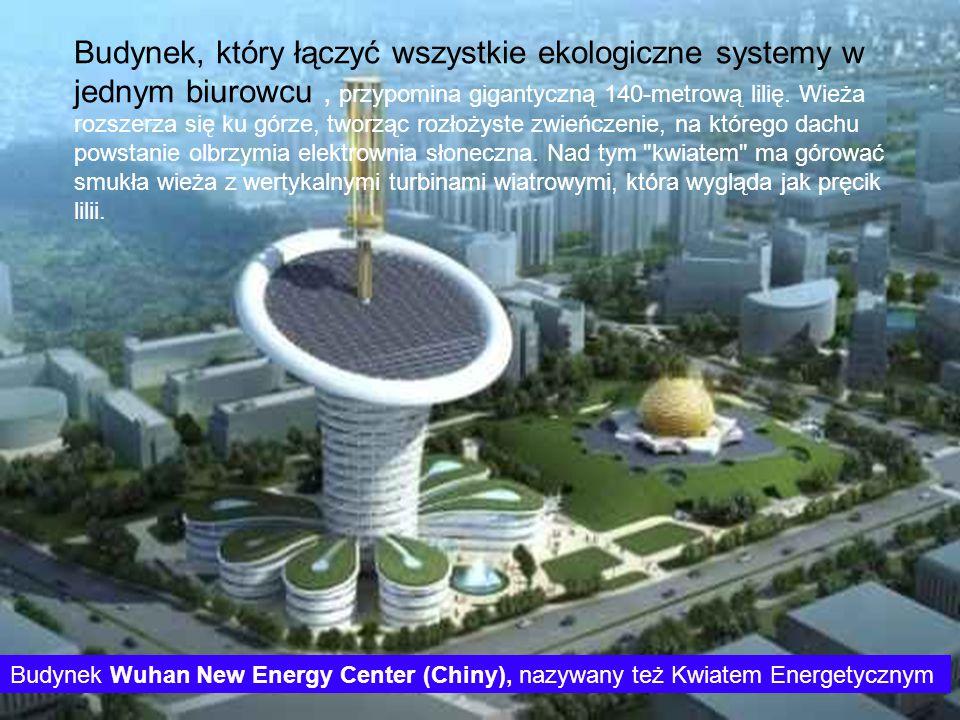 Budynek, który łączyć wszystkie ekologiczne systemy w jednym biurowcu, przypomina gigantyczną 140-metrową lilię. Wieża rozszerza się ku górze, tworząc