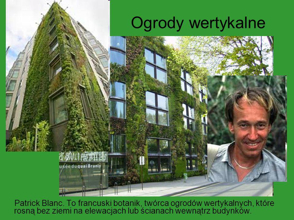 Ogrody wertykalne Patrick Blanc. To francuski botanik, twórca ogrodów wertykalnych, które rosną bez ziemi na elewacjach lub ścianach wewnątrz budynków