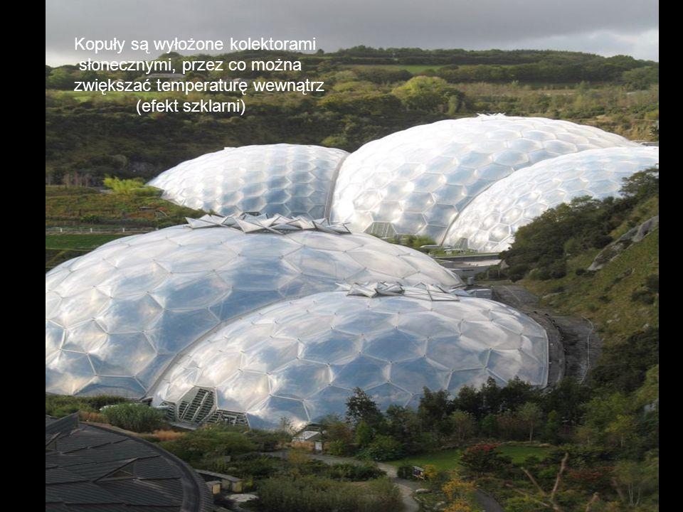 Kopuły są wyłożone kolektorami słonecznymi, przez co można zwiększać temperaturę wewnątrz (efekt szklarni)