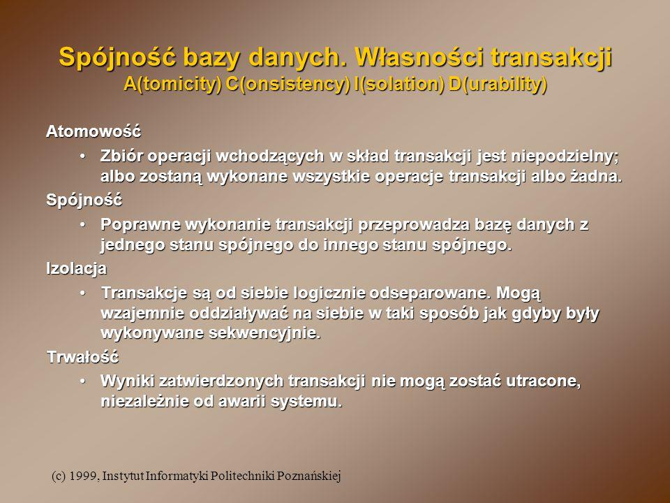 (c) 1999, Instytut Informatyki Politechniki Poznańskiej Spójność bazy danych.