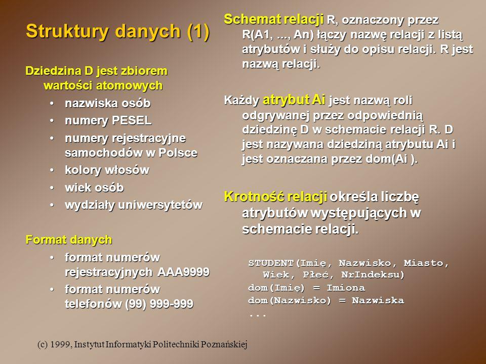 (c) 1999, Instytut Informatyki Politechniki Poznańskiej Struktury danych (1) Dziedzina D jest zbiorem wartości atomowych nazwiska osóbnazwiska osób numery PESELnumery PESEL numery rejestracyjne samochodów w Polscenumery rejestracyjne samochodów w Polsce kolory włosówkolory włosów wiek osóbwiek osób wydziały uniwersytetówwydziały uniwersytetów Format danych format numerów rejestracyjnych AAA9999format numerów rejestracyjnych AAA9999 format numerów telefonów (99) 999-999format numerów telefonów (99) 999-999 Schemat relacji R, oznaczony przez R(A1,..., An) łączy nazwę relacji z listą atrybutów i służy do opisu relacji.