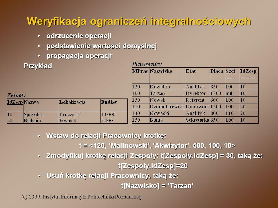 (c) 1999, Instytut Informatyki Politechniki Poznańskiej Weryfikacja ograniczeń integralnościowych odrzucenie operacjiodrzucenie operacji podstawienie wartości domyślnejpodstawienie wartości domyślnej propagacja operacjipropagacja operacjiPrzykład Wstaw do relacji Pracownicy krotkę:Wstaw do relacji Pracownicy krotkę: t = t = Zmodyfikuj krotkę relacji Zespoły: t[Zespoły.IdZesp] = 30, taką że:Zmodyfikuj krotkę relacji Zespoły: t[Zespoły.IdZesp] = 30, taką że:t[Zespoły.IdZesp]=20 Usuń krotkę relacji Pracownicy, taką że:Usuń krotkę relacji Pracownicy, taką że: t[Nazwisko] = Tarzan