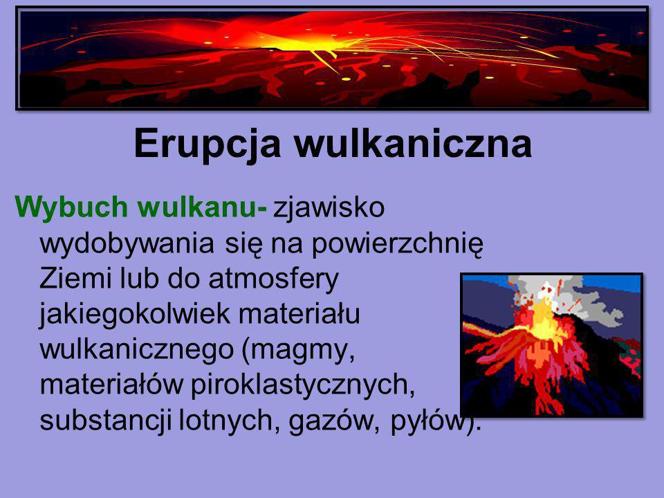 Erupcja wulkaniczna Wybuch wulkanu- zjawisko wydobywania się na powierzchnię Ziemi lub do atmosfery jakiegokolwiek materiału wulkanicznego (magmy, mat
