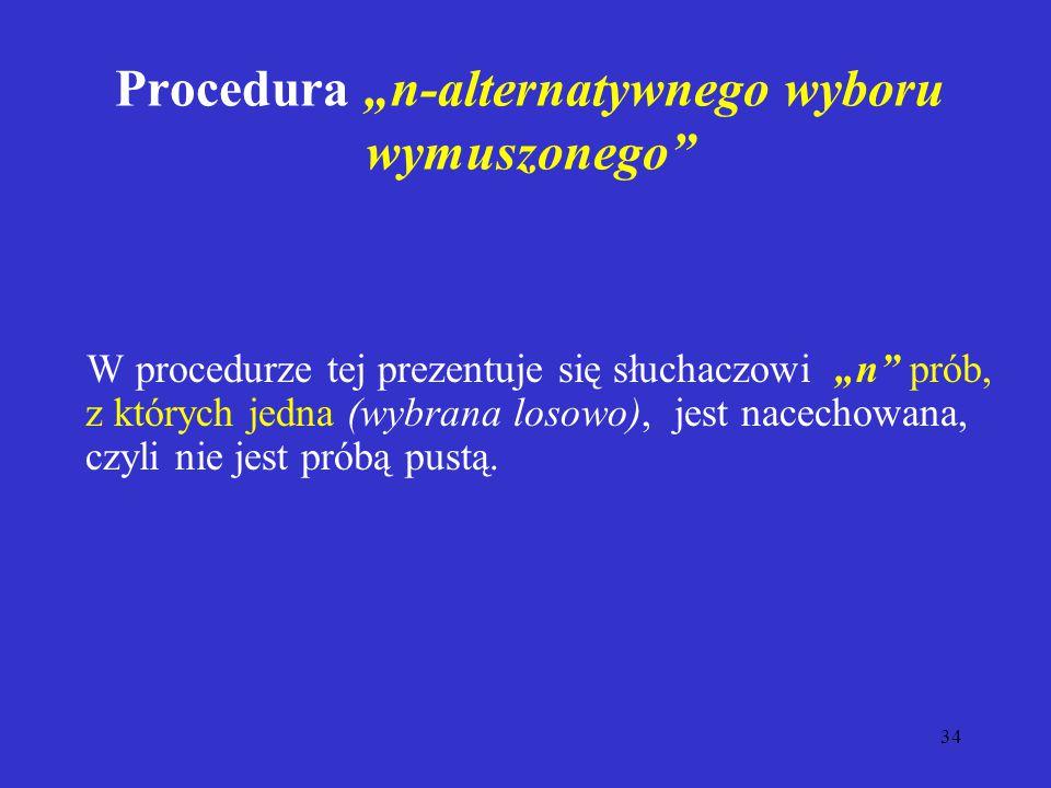 """34 Procedura """"n-alternatywnego wyboru wymuszonego W procedurze tej prezentuje się słuchaczowi """"n prób, z których jedna (wybrana losowo), jest nacechowana, czyli nie jest próbą pustą."""