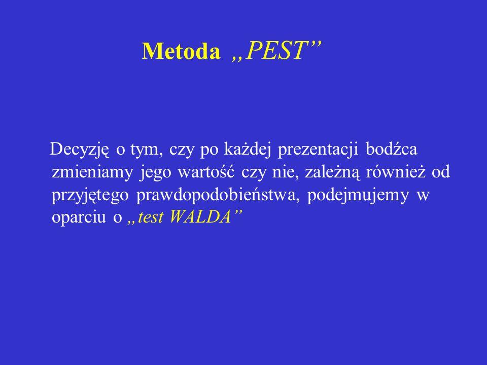 """Metoda """"PEST Decyzję o tym, czy po każdej prezentacji bodźca zmieniamy jego wartość czy nie, zależną również od przyjętego prawdopodobieństwa, podejmujemy w oparciu o """"test WALDA"""