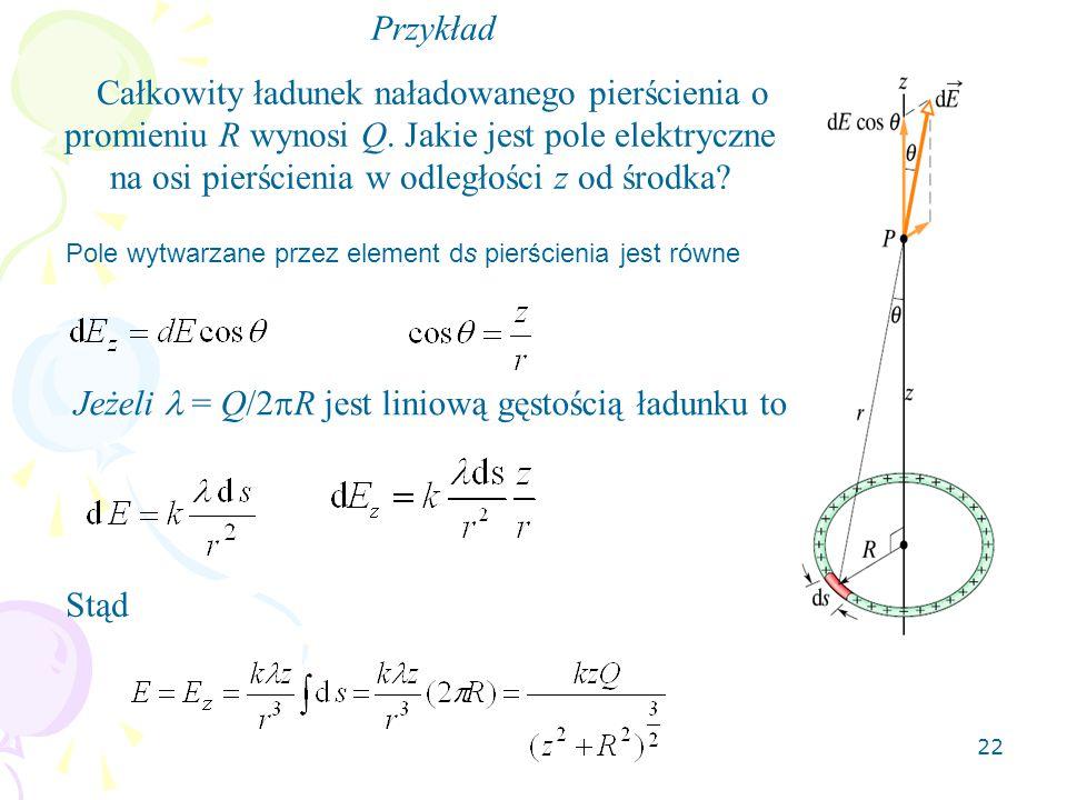 22 Przykład Całkowity ładunek naładowanego pierścienia o promieniu R wynosi Q.