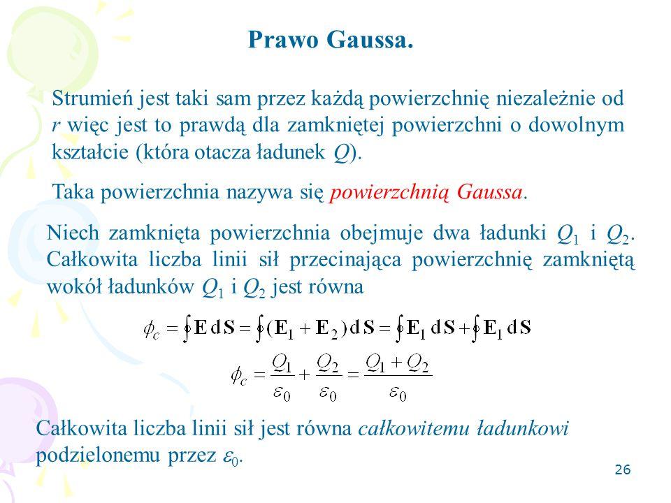 26 Prawo Gaussa. Strumień jest taki sam przez każdą powierzchnię niezależnie od r więc jest to prawdą dla zamkniętej powierzchni o dowolnym kształcie