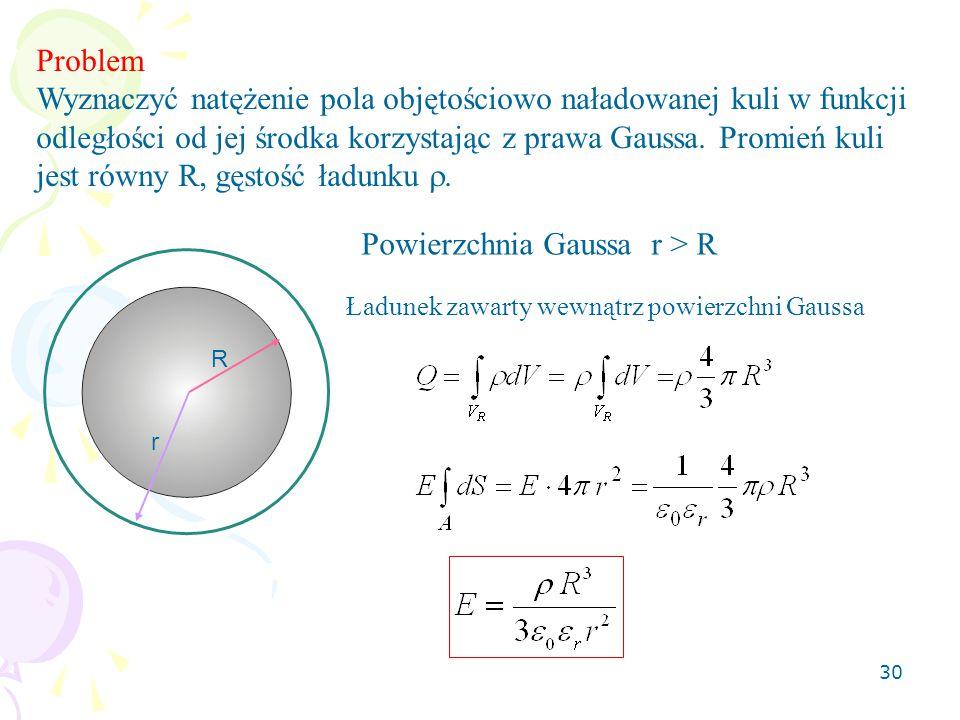 30 Problem Wyznaczyć natężenie pola objętościowo naładowanej kuli w funkcji odległości od jej środka korzystając z prawa Gaussa. Promień kuli jest rów